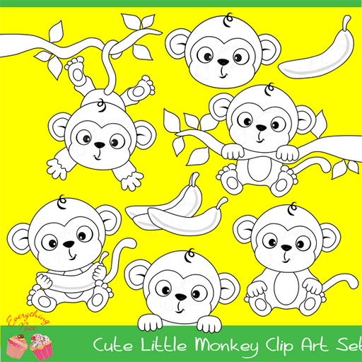 Cute Little Monkey Stamps / Linearts Clipart Set  1 Everything Nice    Mygrafico