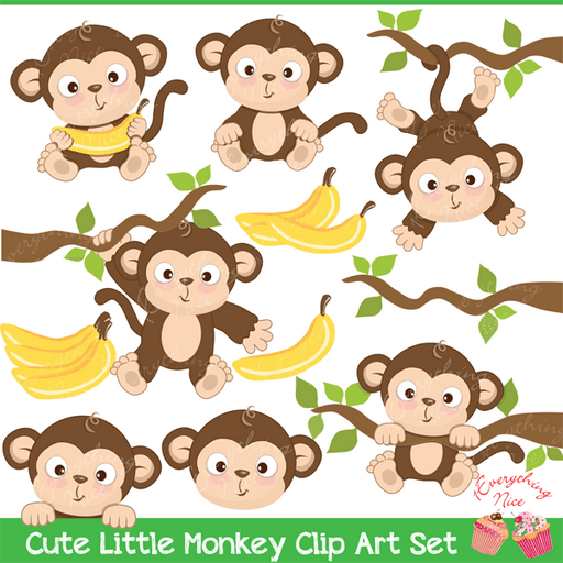 Cute Little Monkey Clipart Set  1 Everything Nice    Mygrafico