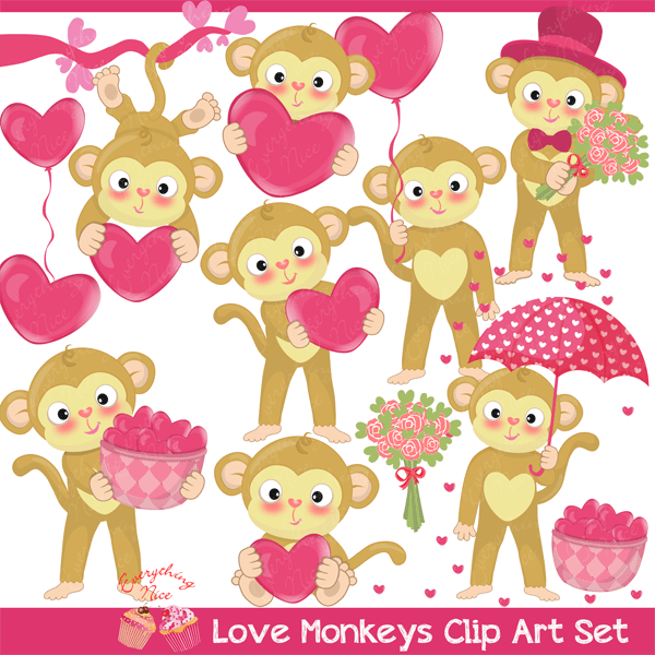Love Valentine Monkeys Clipart Set