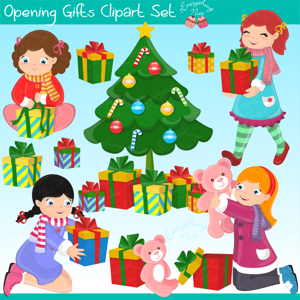 Girls Opening Gifts Clipart Set  1 Everything Nice    Mygrafico