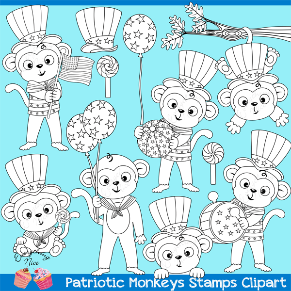 Patriotic Monkeys Lineart Stamps  1 Everything Nice    Mygrafico