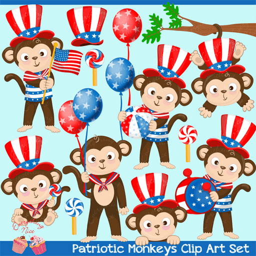 Patriotic Monkeys 4th of July Clipart Set  1 Everything Nice    Mygrafico