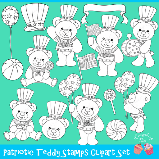Patriotic Teddy Bear Lineart Stamps  1 Everything Nice    Mygrafico