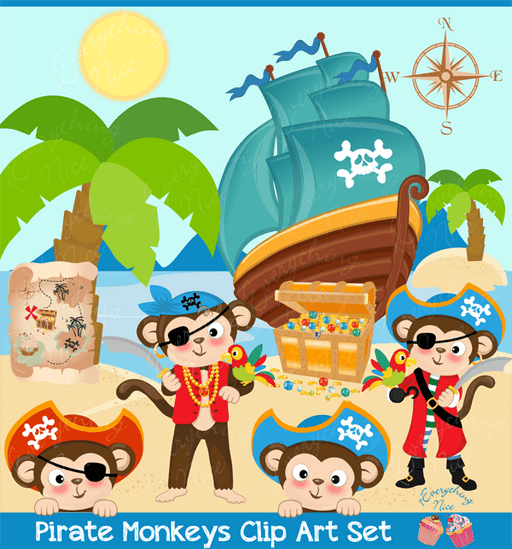 Pirate Monkeys Clipart Set  1 Everything Nice    Mygrafico