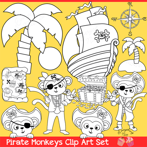 Pirate Monkeys Stamps Linearts Clipart Set  1 Everything Nice    Mygrafico