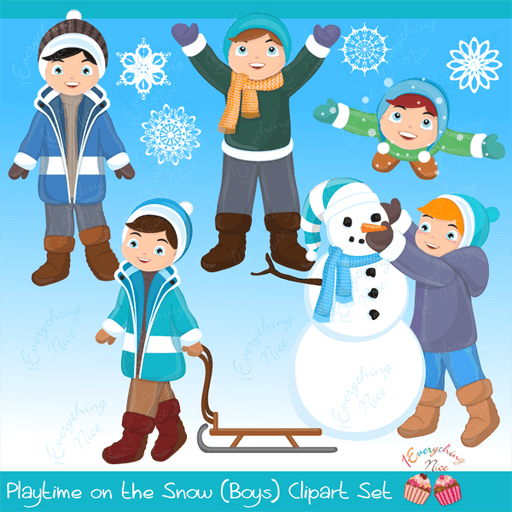Playtime in the Snow (Boys) Clipart Set  1 Everything Nice    Mygrafico