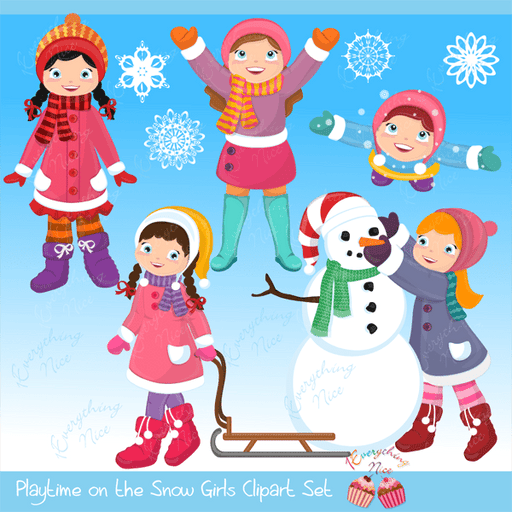 Playtime in the Snow (Girls) Clipart Set  1 Everything Nice    Mygrafico
