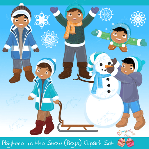 Playtime in the Snow (African-american Boys) Clipart Set  1 Everything Nice    Mygrafico