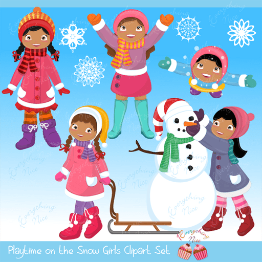 Playtime in the Snow (African-american Girls) Clipart Set  1 Everything Nice    Mygrafico
