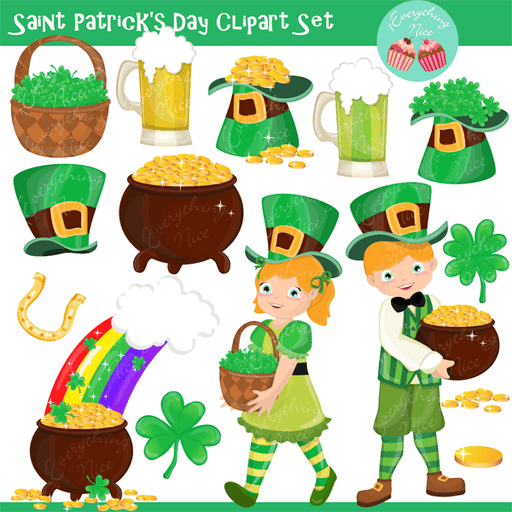 Saint Patrick's Day Clipart Set  1 Everything Nice    Mygrafico
