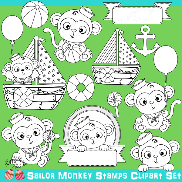 Sailor Monkeys Stamps / Linearts Clipart Set  1 Everything Nice    Mygrafico
