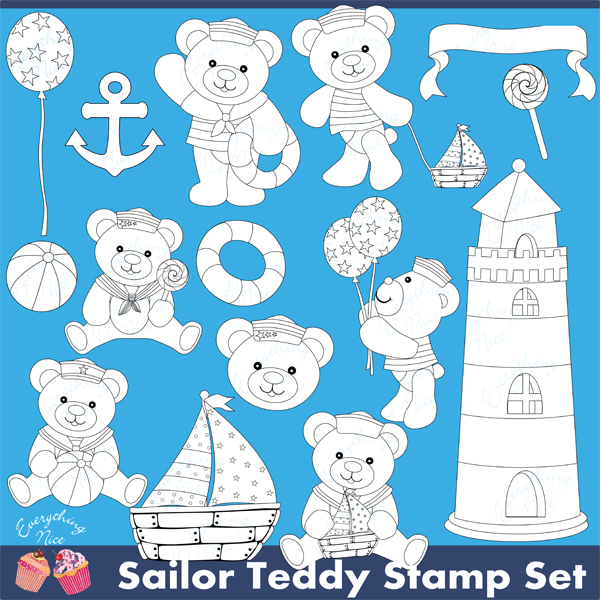 Sailor Teddy Lineart Stamps Clipart Set  1 Everything Nice    Mygrafico