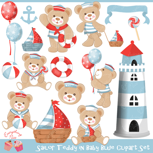 Sailor Teddy in Baby Blue Color Clipart Set  1 Everything Nice    Mygrafico