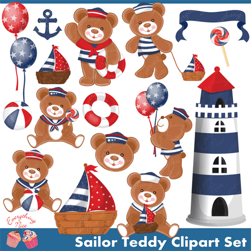 Sailor Teddy Clipart Set  1 Everything Nice    Mygrafico