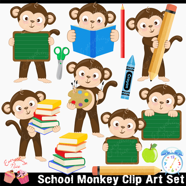 Monkey School  Clipart Set  1 Everything Nice    Mygrafico