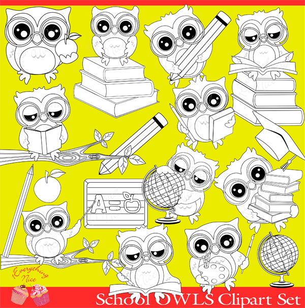 School Owls Lineart Stamps  1 Everything Nice    Mygrafico