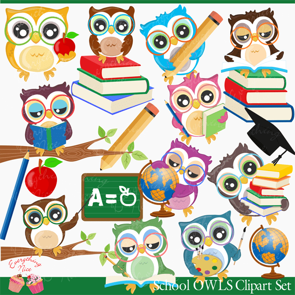 School Owls Clipart Set  1 Everything Nice    Mygrafico