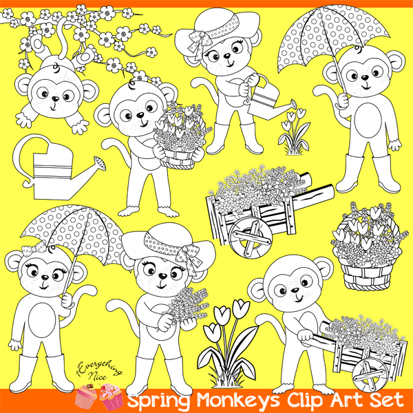Spring Monkeys Digital Stamps Lineart  1 Everything Nice    Mygrafico