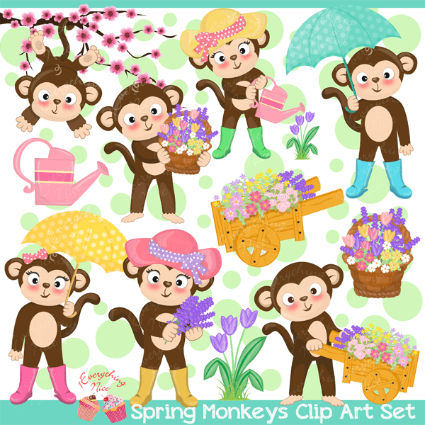 Spring Monkeys Clipart Set  1 Everything Nice    Mygrafico
