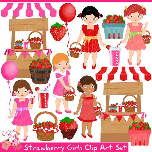 Strawberry Girls Clipart Set  1 Everything Nice    Mygrafico