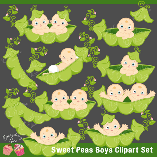 Sweet Peas Boys Clipart Set  1 Everything Nice    Mygrafico