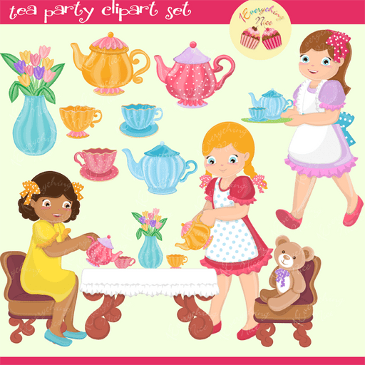 Tea Party Clipart Set  1 Everything Nice    Mygrafico