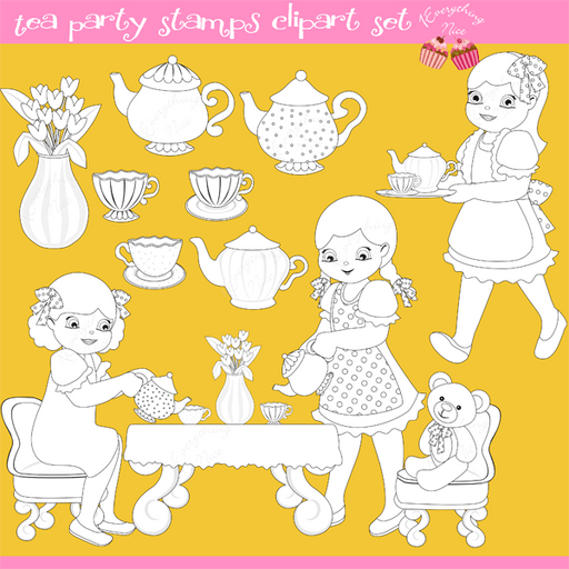 Tea Party Stamps / Lineart Clipart Set  1 Everything Nice    Mygrafico