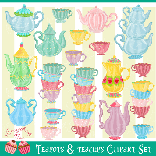 Teapots and Teacups Clipart Set  1 Everything Nice    Mygrafico