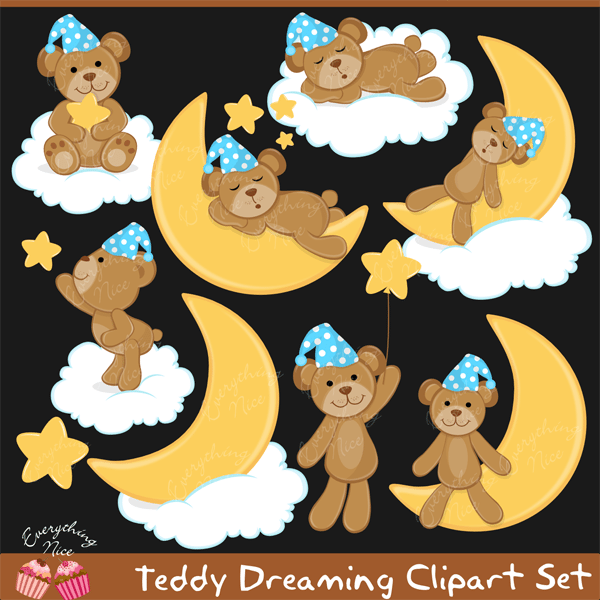 Teddy Dreaming Clipart Set  1 Everything Nice    Mygrafico