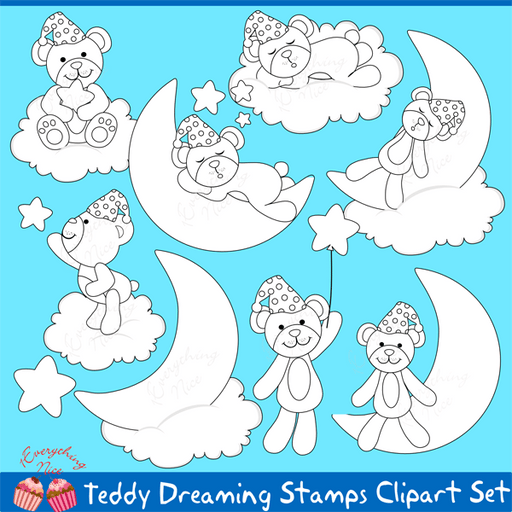 Teddy Bear Dreaming Lineart Stamps Clipart Set  1 Everything Nice    Mygrafico
