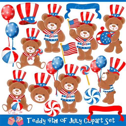 Teddy 4th of July Clipart Set  1 Everything Nice    Mygrafico