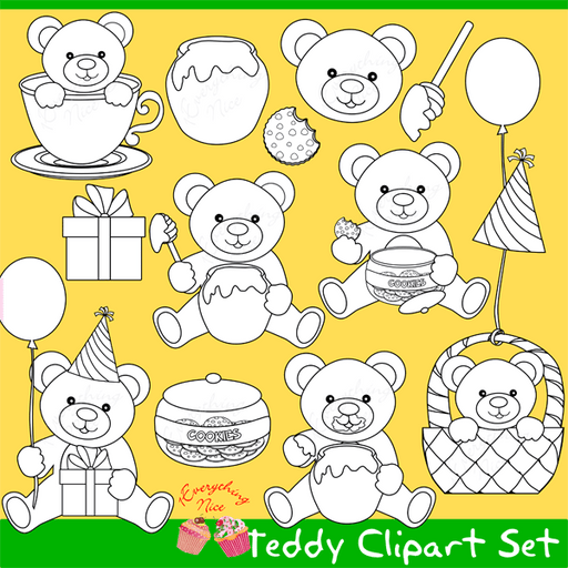 Teddy Bear Lineart Stamps Clipart Set  1 Everything Nice    Mygrafico