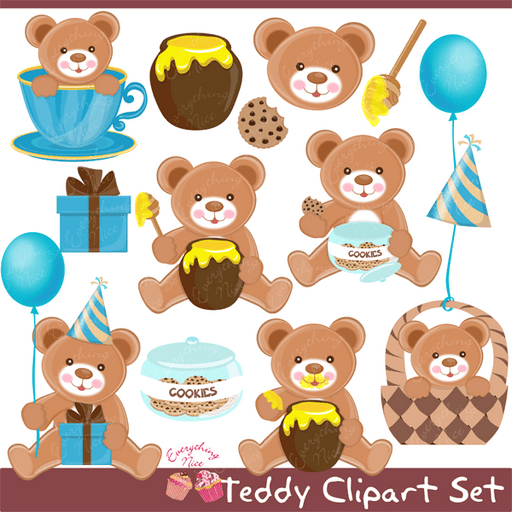 Teddy Clipart Set  1 Everything Nice    Mygrafico
