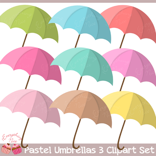 Pastel Umbrellas Clipart Set  1 Everything Nice    Mygrafico