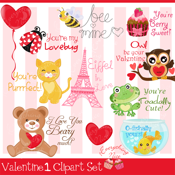 Valentine1 Clipart Set  1 Everything Nice    Mygrafico