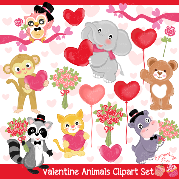 Love Valentine Animals Clipart Set  1 Everything Nice    Mygrafico