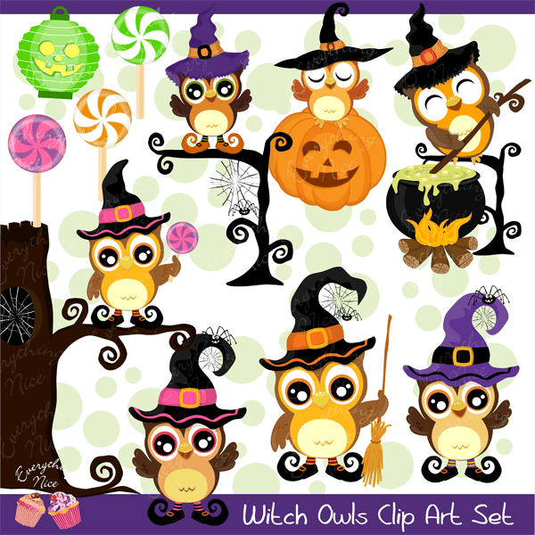Witch Owls Clipart Set