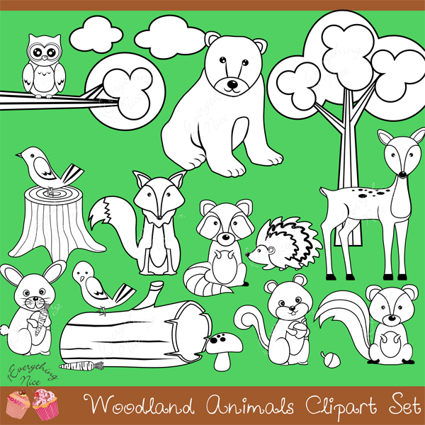 Woodland Animals Digital Stamps Lineart  1 Everything Nice    Mygrafico