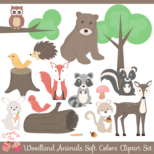 Wood land Animals in Soft Colors Clipart Set