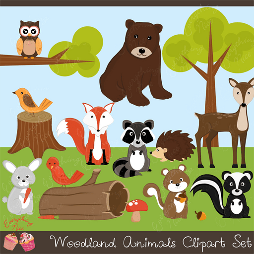 Woodland Animals Clipart Set  1 Everything Nice    Mygrafico