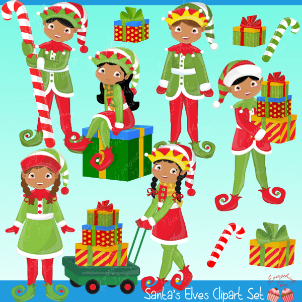 African-american Elves Clipart Set  1 Everything Nice    Mygrafico