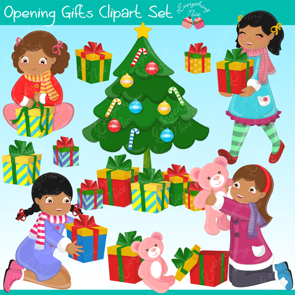 African-American Girls Opening Gifts Clipart Set  1 Everything Nice    Mygrafico