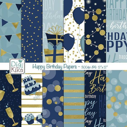Happy Birthday Digital Papers Digital Paper & Backgrounds DigiKika    Mygrafico
