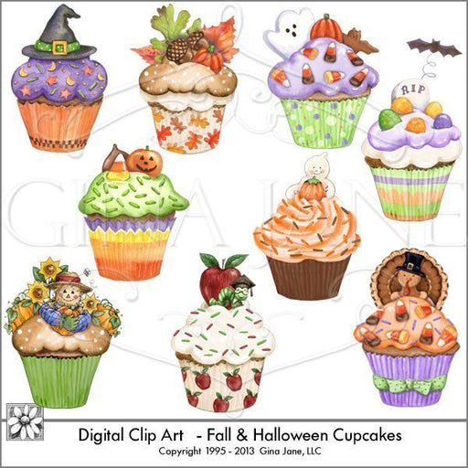 Fall and Halloween Cupcakes Clip Art