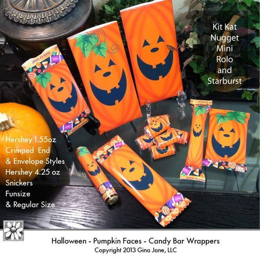 Pumpkin Face Candy Bar Wrappers  Gina Jane    Mygrafico