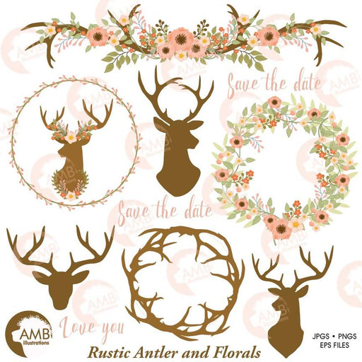 Rustic Wedding clipart, Floral Antlers, Antler and Floral Wedding Wreath, Floral Deer clipart, Antler clipart, AMB-1483 Cliparts AMBillustrations    Mygrafico