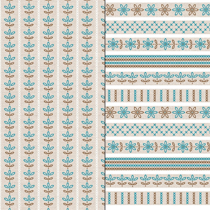 Blue and Brown Embroidered Patterns Digital Paper & Backgrounds Melissa Held Designs    Mygrafico
