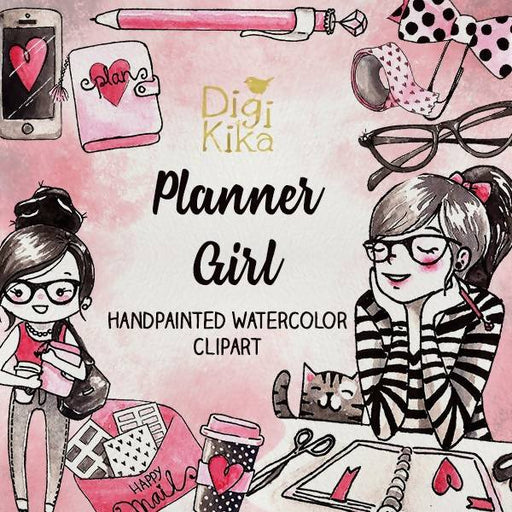 Planner Girl Clipart, Hand Painted Watercolor Clip Art, Planner Girl Wartercolor Clipart, Planner Girl Graphics, Planner Supplies, Hand Draw Cliparts DigiKika    Mygrafico