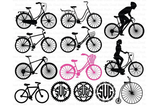 Bicycle SVG, Biking, Bike SVG files for Silhouette Cameo and Cricut.Transport svg, Bike Monogram. Clipart PNG included SVG Cutting Templates Doodle Cloud Studio    Mygrafico