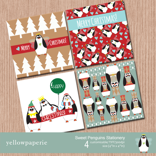 Sweet Penguins Stationery  Yellowpaperie    Mygrafico